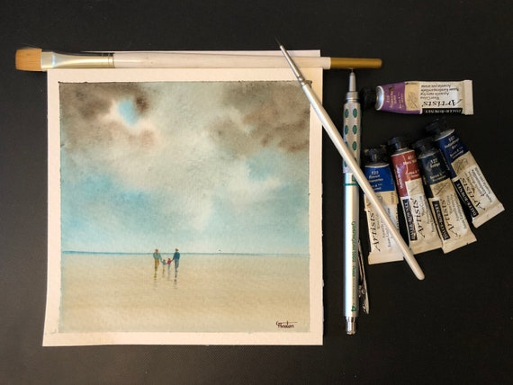 Square small original watercolour beach painting,  couple and 2 children,  affordable hand painted delicate family of 4 watercolor gift,  UK