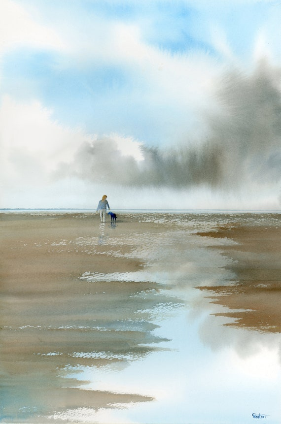 """Original large 22"""" x 15"""" watercolour painting,  'Faithful', figure and Black dog on beach at low tide, art on 100% cotton paper , UK artist"""