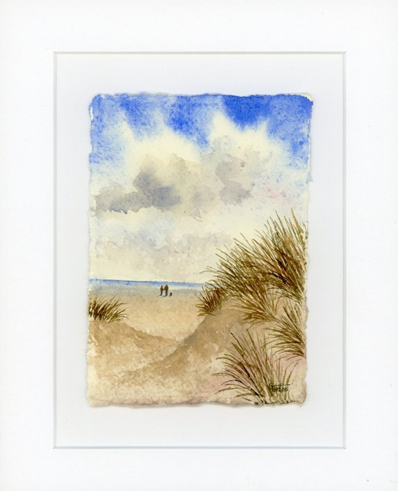 Original mounted deckled edged watercolour beach painting on handmade paper, couple and dog, Fylde Sand dunes near Lytham St Annes. gift UK