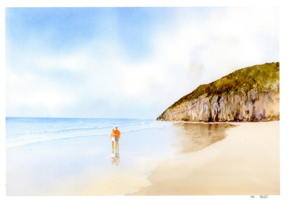 New for 2021 hand painted couple on beach  'Pendine Sands', hand finished very limited edition print on watercolour paper