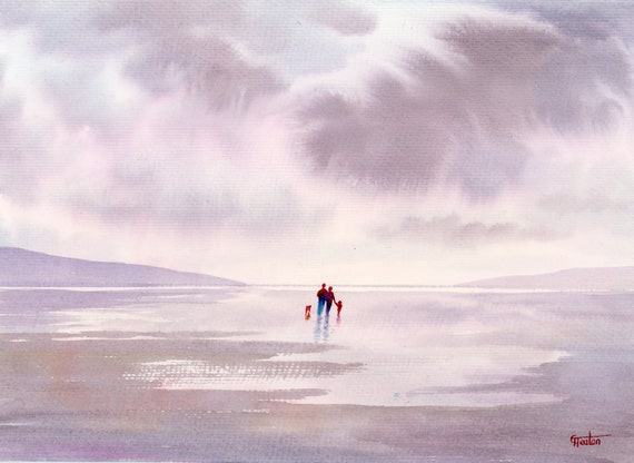 Original watercolour painting, 'A Walk At Low Tide', couple, child and dog on beach, A4 size watercolor, original art, shades of grey, mauve