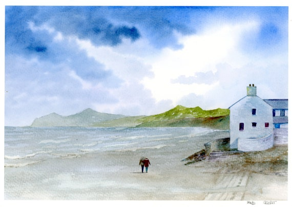 Morfa Nefyn Beach, Hand finished very limited edition print on watercolour paper, figures on beach unique art gift, Llyn Peninsula, Wales