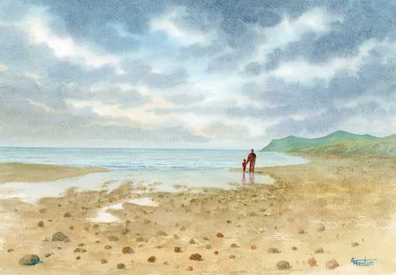 "Original watercolour painting, 'Best Dad' father and child on beach, A4 size 297mm x 214mm (11.5"" x 8.25"") unique father's day gift,"