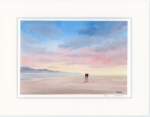 "Mounted 9"" x 7"" Limited Edition Print on watercolour paper, couple on beach. Only 50 available worldwide from an original painting, romantic"