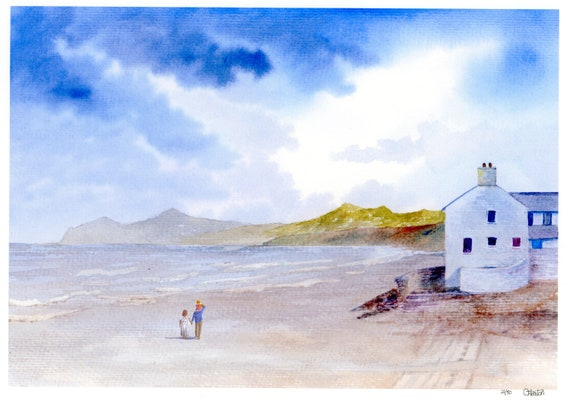 Morfa Nefyn Beach, Hand finished very limited edition print on watercolour paper, Couple and child on beach unique art gift, family