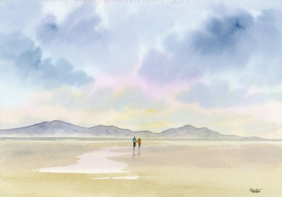 Original romantic watercolour painting,  Couple on Newborough beach, Wales.  Unique watercolor art gift, valentine or anniversary present