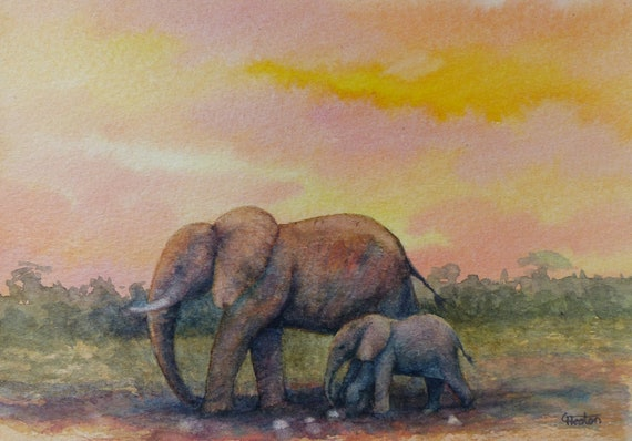 Original small watercolour painting, 'Sunset Elephants',  A5 size affordable and original art, unique watercolor study
