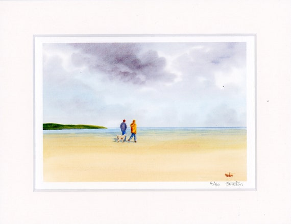"Mounted 9"" x 7"" Limited Edition Print on watercolour paper, couple and Labradoodle dog on beach from an original watercolour painting, UK"