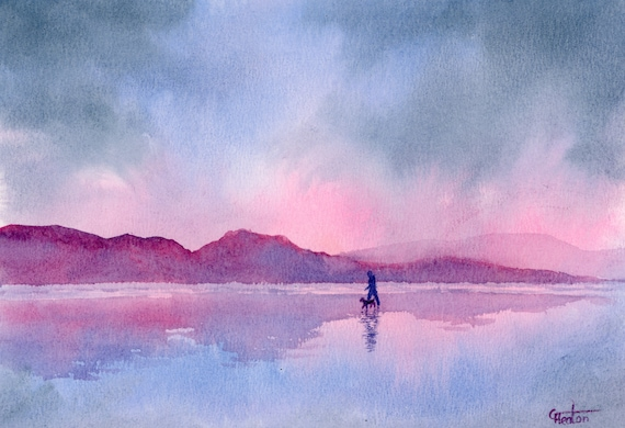 Original small watercolour beach painting, 'Home For Dinner'  original art, figure and dog on beach, hand painted watercolor gift A5, Wales