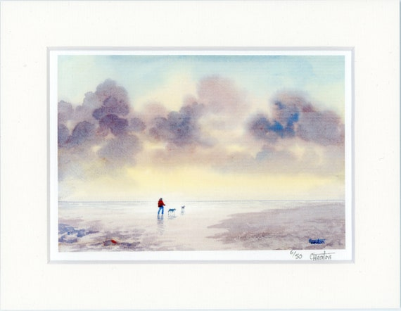 "Mounted 9"" x 7"" Limited Edition Print on watercolour paper, figure and dogs on beach. Only 50 available worldwide from an original painting"