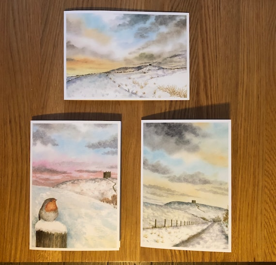 Rivington Christmas cards direct from the artist.  Art cards for sending or framing. Snow scenes in Horwich, Bolton, Lancashire, Pike, Robin