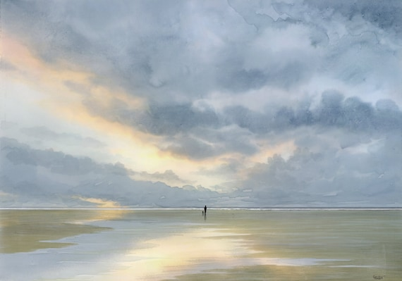 A3 size original watercolour painting 'Time To Unwind',  figure and dog on sunset beach, unique watercolor art direct from UK artist