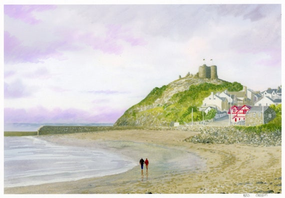 Criccieth beach, Hand finished very limited edition print on watercolour paper, hand painted figures on beach, can be personalised to order