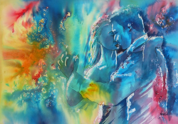 Original Watercolour and Ink 'Dancing In The Shadows' A3 Painting, dance art, couple dancing in watercolors, dancers, abstract, unique