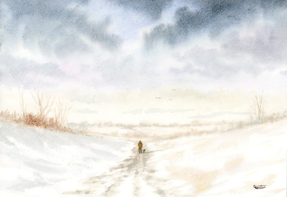 Original watercolour painting, figure and dog in winter snow, A4 size watercolor, original art gift direct from the artist in England UK,
