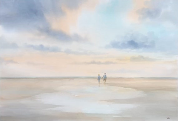 "Original very large 30"" x 22"" watercolour painting, huge romantic beach on 100% cotton paper, wall art direct from the artist in England UK"