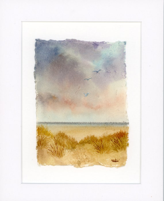 "Original mounted deckled edged watercolour beach painting on handmade paper, Ainsdale beach sand dunes near Southport, mounted for 10"" x 8"""