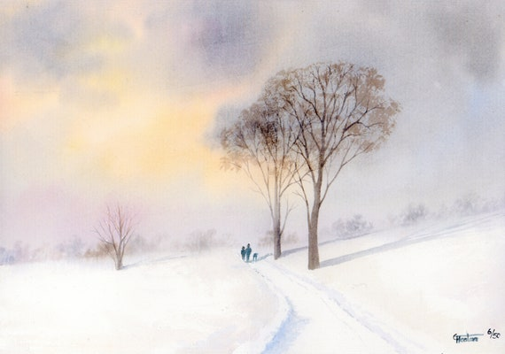 Hand finished and personalised very limited edition print on watercolour paper 'A Winter's Tale', couple and dog in snow, unique art gift