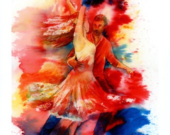 Limited edition watercolour dance print 'We'll Dance Again'  signed and numbered artwork, Salsa dancers wall art