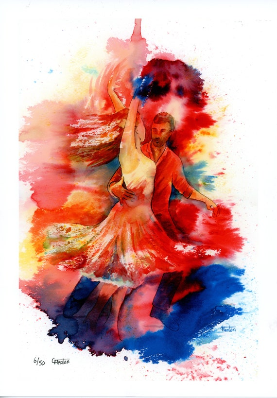 Limited edition just 50 worldwide fine art A4 print from an original watercolour 'We'll Dance Again'  signed and numbered, Salsa dancers
