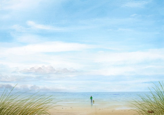 Original watercolour painting, figure and dog on beach, 'Peace and Quiet' A4 size watercolor, original art gift direct from the artist in UK