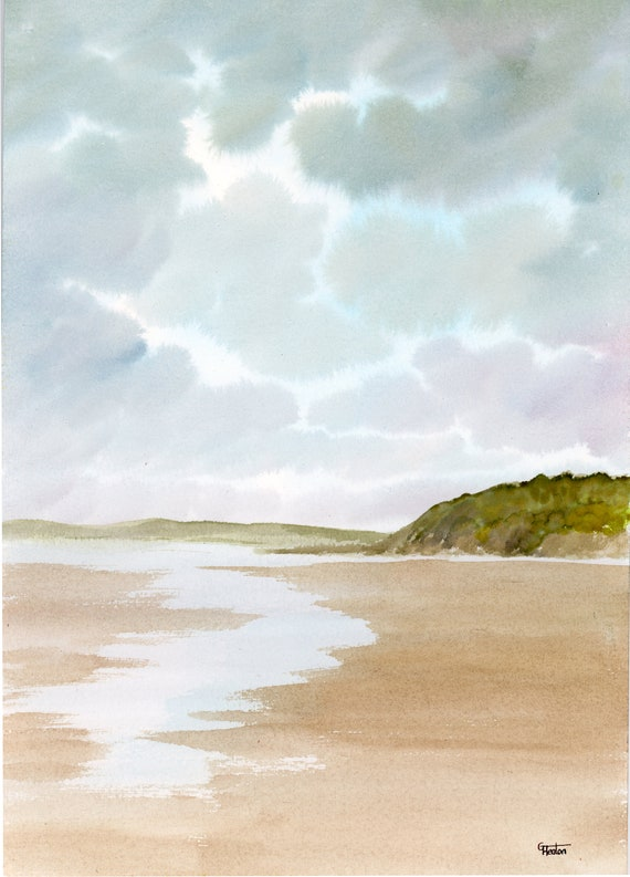 Original watercolour painting, Benllech Beach, Anglesey beach, Wales A4 size watercolor, original art gift direct from the artist in UK