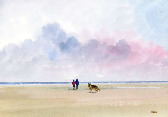 Original watercolour painting, German Shepherd Dog on beach, A4 size watercolor original unique art gift direct from the artist, England UK