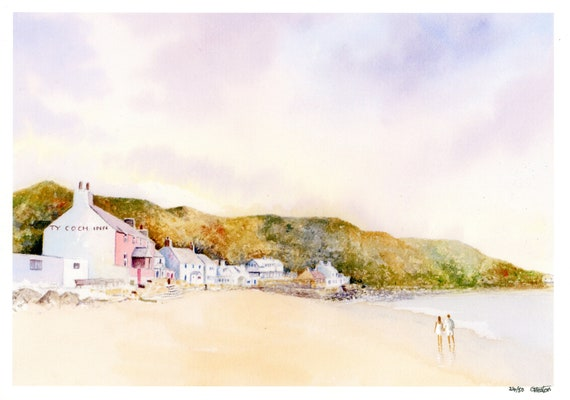 Ty Coch, Porthdinllaen, Hand finished and personalised very limited edition print on watercolour paper, couple on Morfa Nefyn beach, art