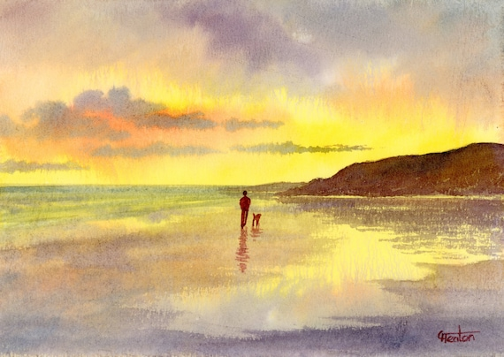 Original small watercolour beach painting, 'Black Rock Sunset'  original art figure and dog on sunset beach, hand painted watercolor gift A5
