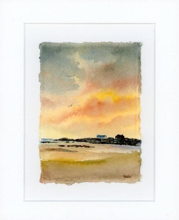 Original mounted deckled edged watercolour beach painting Trearddur Bay, Anglesey on handmade paper, sunset beach. Art gift UK