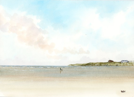 Original watercolour painting, Traeth Lligwy, Anglesey beach, Wales A4 size watercolor, original art gift direct from the artist in UK
