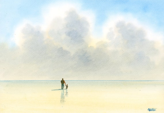"Original watercolour painting, 'A Walk With Daddy' man and child on beach, A4 size 297mm x 214mm (11.5"" x 8.25"") watercolor unique gift Dad"