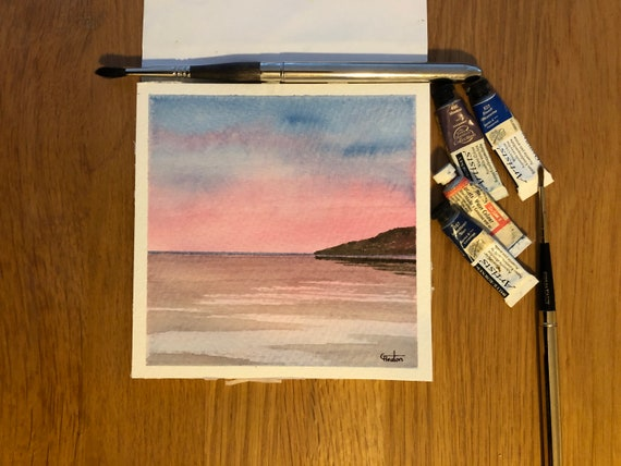 Cable Bay, Anglesey. Square small original watercolour twilight beach painting,  affordable hand painted delicate watercolor gift,  UK