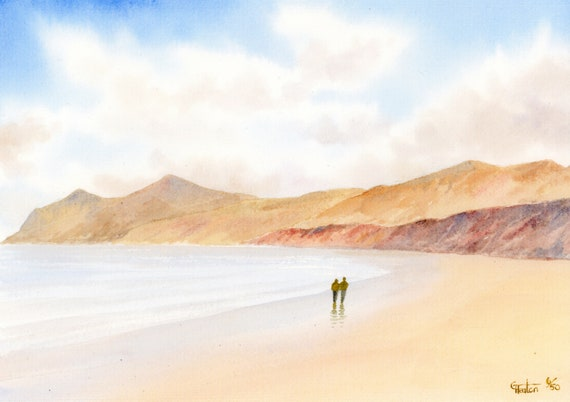 Morfa Nefyn beach, hand finished very limited edition print on watercolour paper, 'The Rivals' couple on beach, Yr Eifl  mountains in Wales