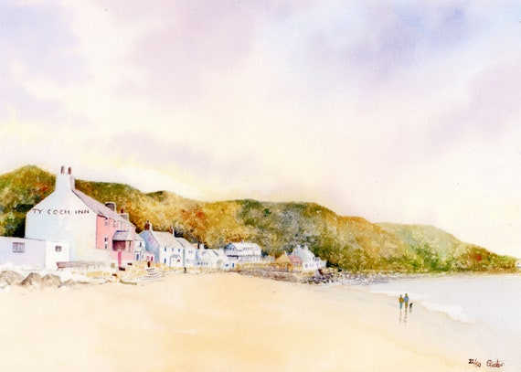 Ty Coch, Porthdinllaen, Hand finished and personalised very limited edition print on watercolour paper, couple and dog on Morfa Nefyn beach