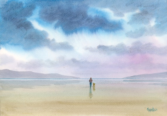 "Original watercolour painting, 'A Peaceful Stroll' figure and dog on beach, A4 size 297mm x 214mm (11.5"" x 8.25"") watercolor unique gift"