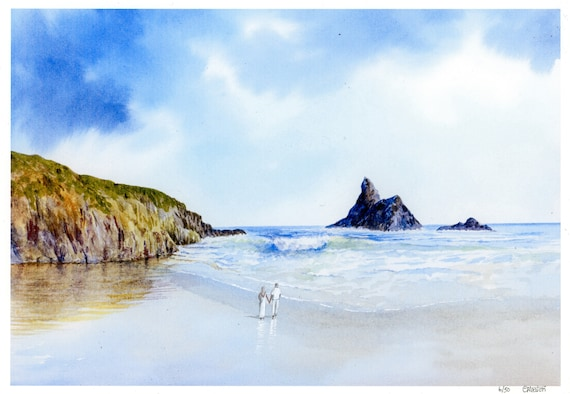 New 2021 Church Rock, Broad Haven beach Hand finished very limited edition print on watercolour paper, Hand painted Couple, personalised art