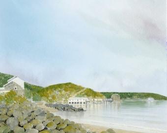 Morfa Nefyn Original vertical A4 watercolour painting, Llŷn Peninsula, Wales. Watercolor art direct from UK artist
