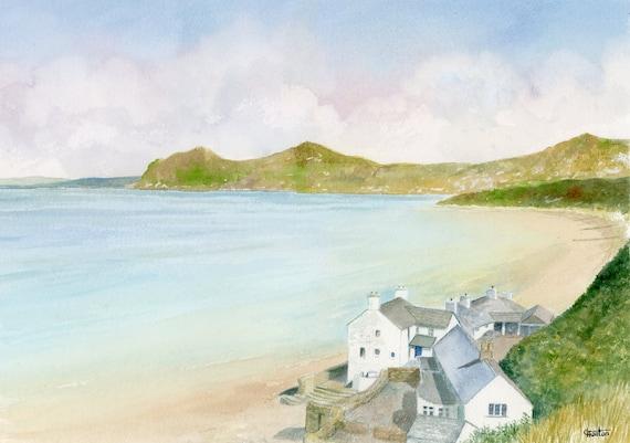 """Original watercolour painting, Morfa Nefyn, Wales on 100% cotton Arches paper 26 x 36cm (14"""" x 10"""") watercolor, landscape, seascape, beach"""