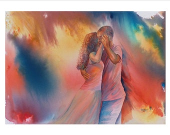 Very limited edition just 25 worldwide fine art print from an original watercolour 'Connection'  signed and numbered, Kizomba dancers, Tango