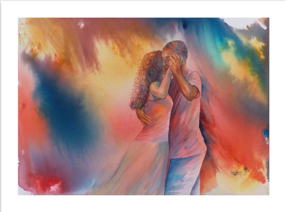 Very limited edition just 25 worldwide fine art print from an original watercolour 'Connection'  signed and numbered, Kizomba dancers Tango