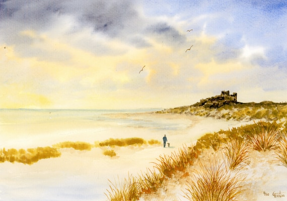Bamburgh Castle, Hand finished and personalised very limited edition print on watercolour paper, figure and dog on beach unique art gift