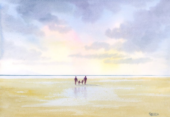 Original watercolour painting, 'The Four Of Us' couple and children on beach, A4 size 297mm x 214mm watercolor, mum, dad, family