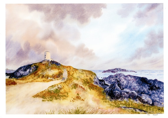 New 2021 Llanddwyn Island, Anglesey, Hand finished very limited edition print on watercolour paper, Newborough beach, Couple and dog