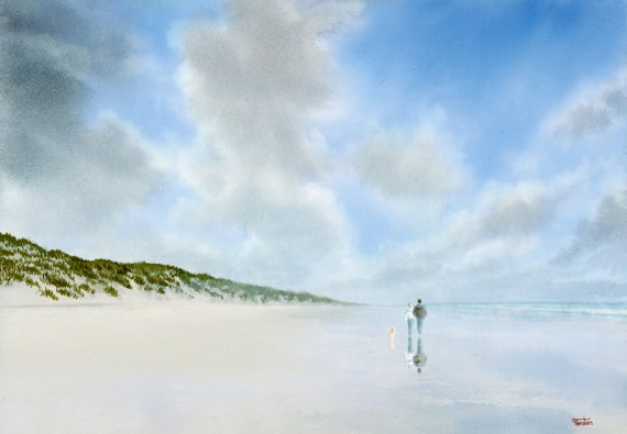 Original watercolour painting, couple and dog on beach, 'Spring Reflections' A4 size watercolor art direct from the artist in England, UK.
