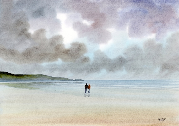 Original watercolour painting, couple on stormy beach, A4 size watercolor, original romantic art gift direct from the artist in England UK