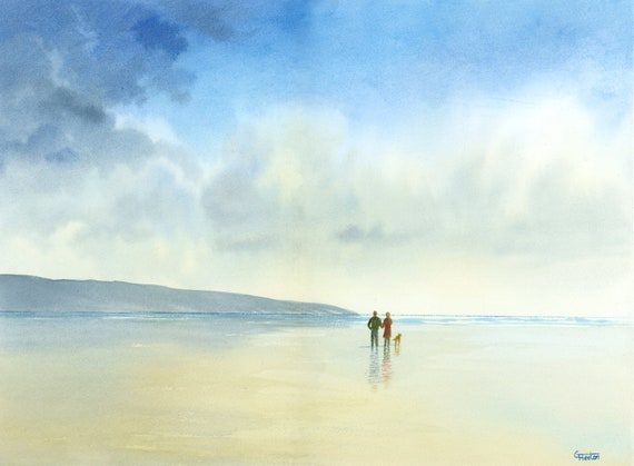 """Original 16"""" x 12"""" watercolour painting,  'After The Rain' Couple and dog on beach,  watercolor, romantic art gift, 100% cotton paper A3"""
