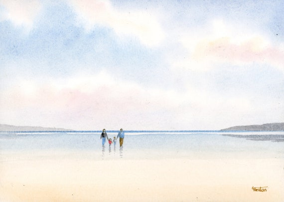 Original small watercolour beach painting, 'Our Family'  original art, couple and children on beach, unique gift for parents or grandparents