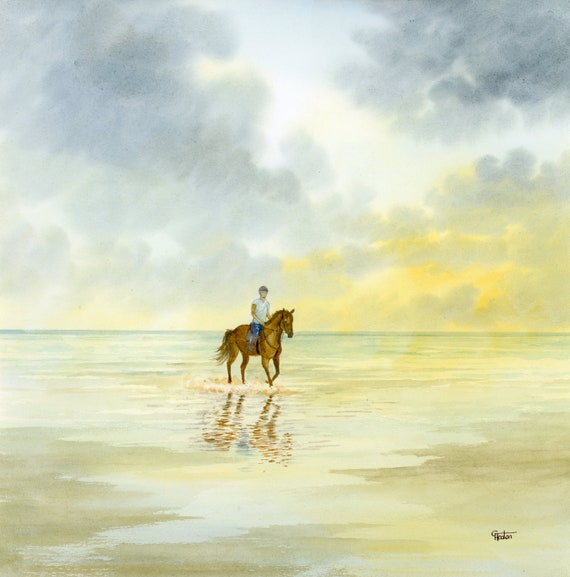 Original watercolour painting, horse on beach square 30cm x 30cm size watercolor, original  art gift direct from the artist in England UK