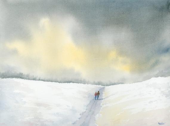"Original 16"" x 12"" watercolour painting,  'Winter Walk' Couple in snow scene landscape,  romantic watercolor, art gift, 100% cotton paper A3"